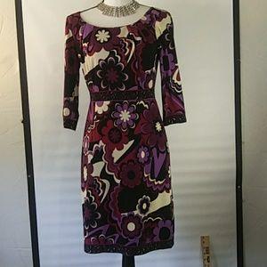 Tahari dress Purple floral 2P